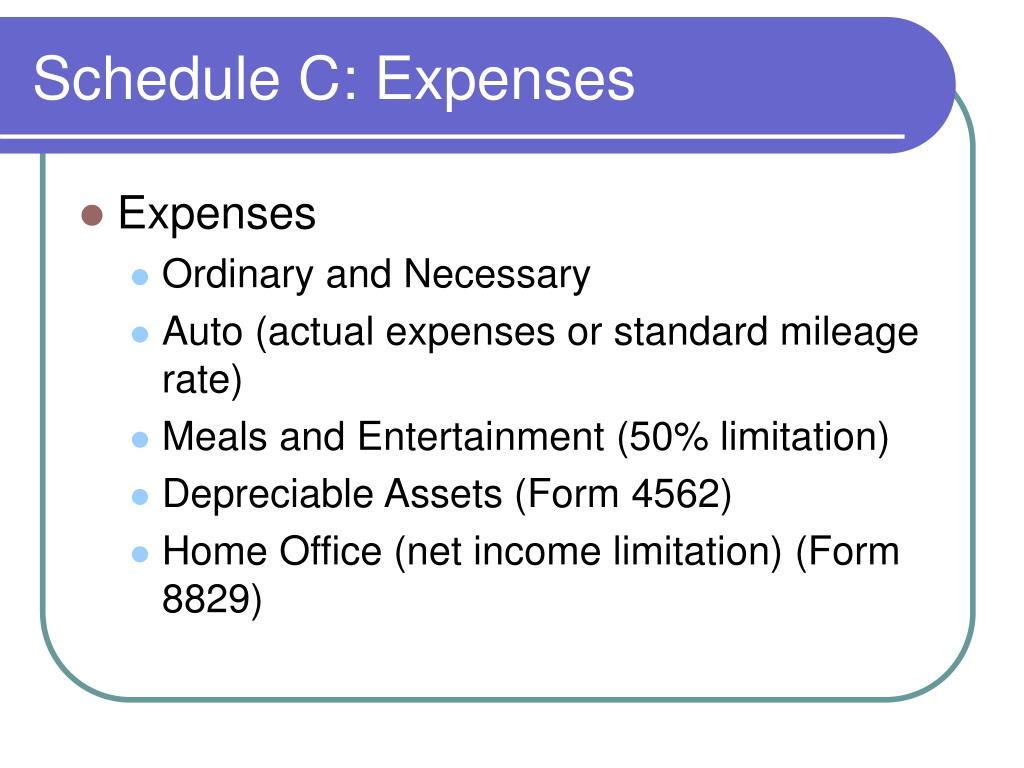 Schedule C: Expenses