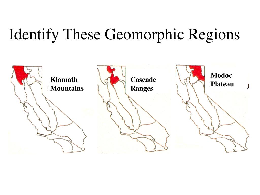 Identify These Geomorphic Regions