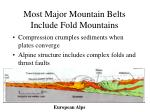 most major mountain belts include fold mountains