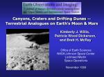 canyons craters and drifting dunes terrestrial analogues on earth s moon mars