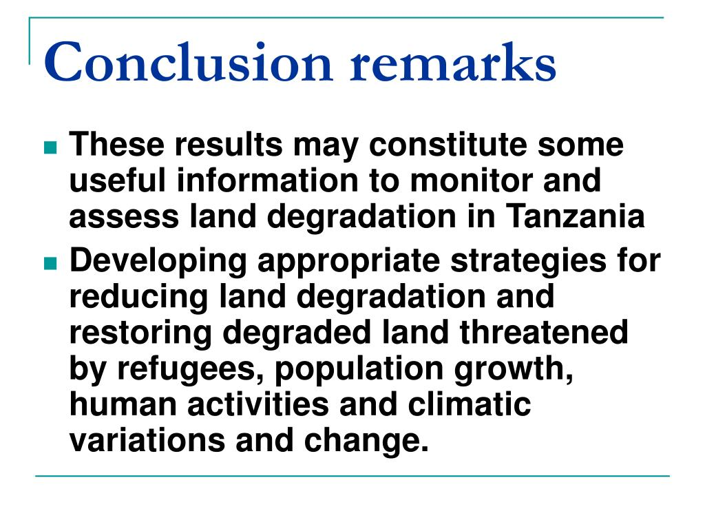 Conclusion remarks