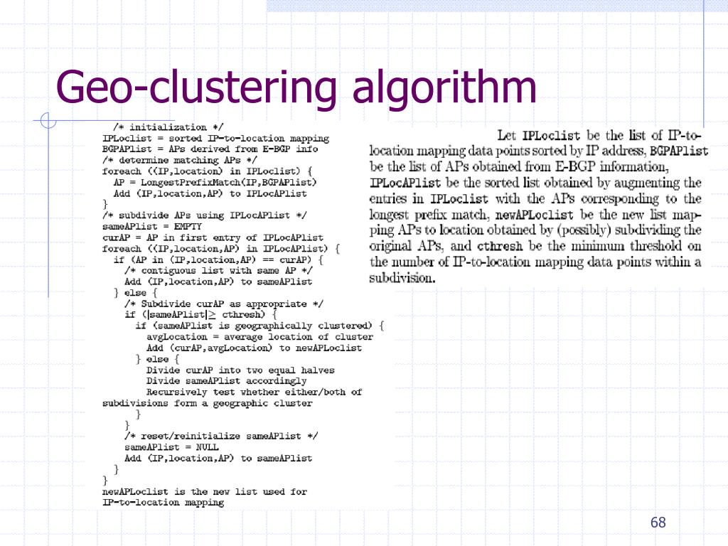 Geo-clustering algorithm