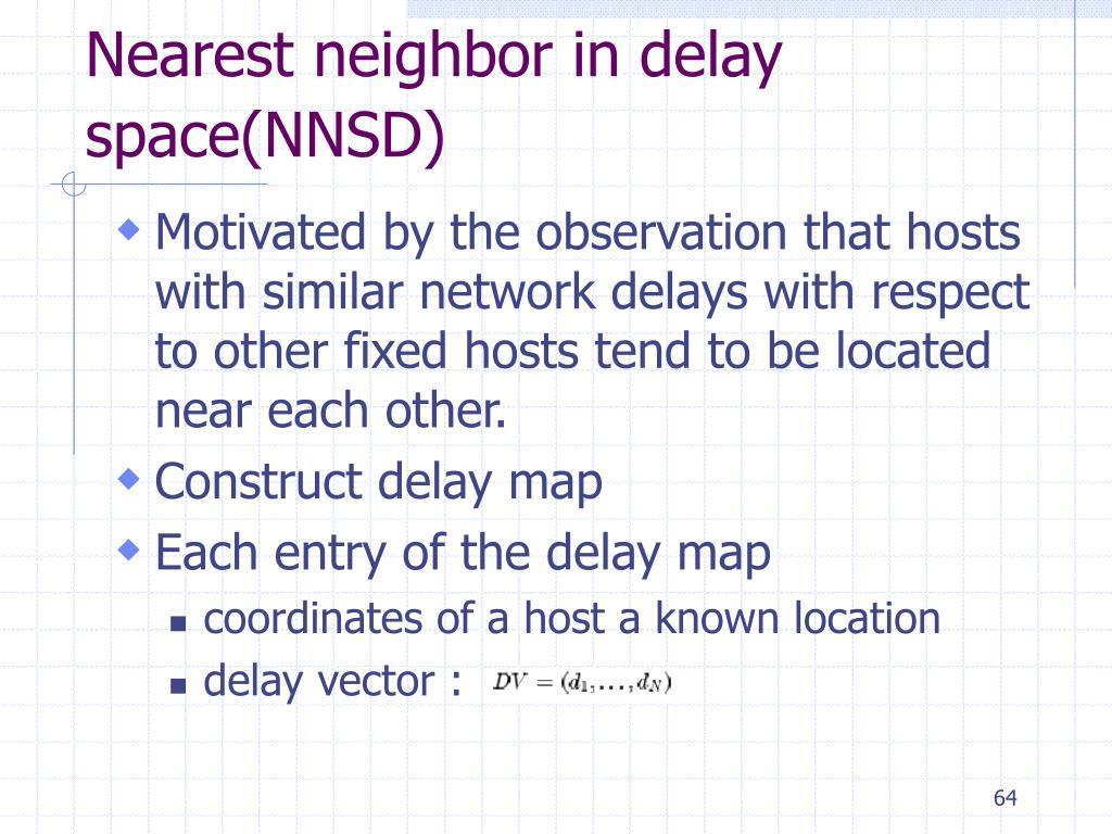 Nearest neighbor in delay space(NNSD)