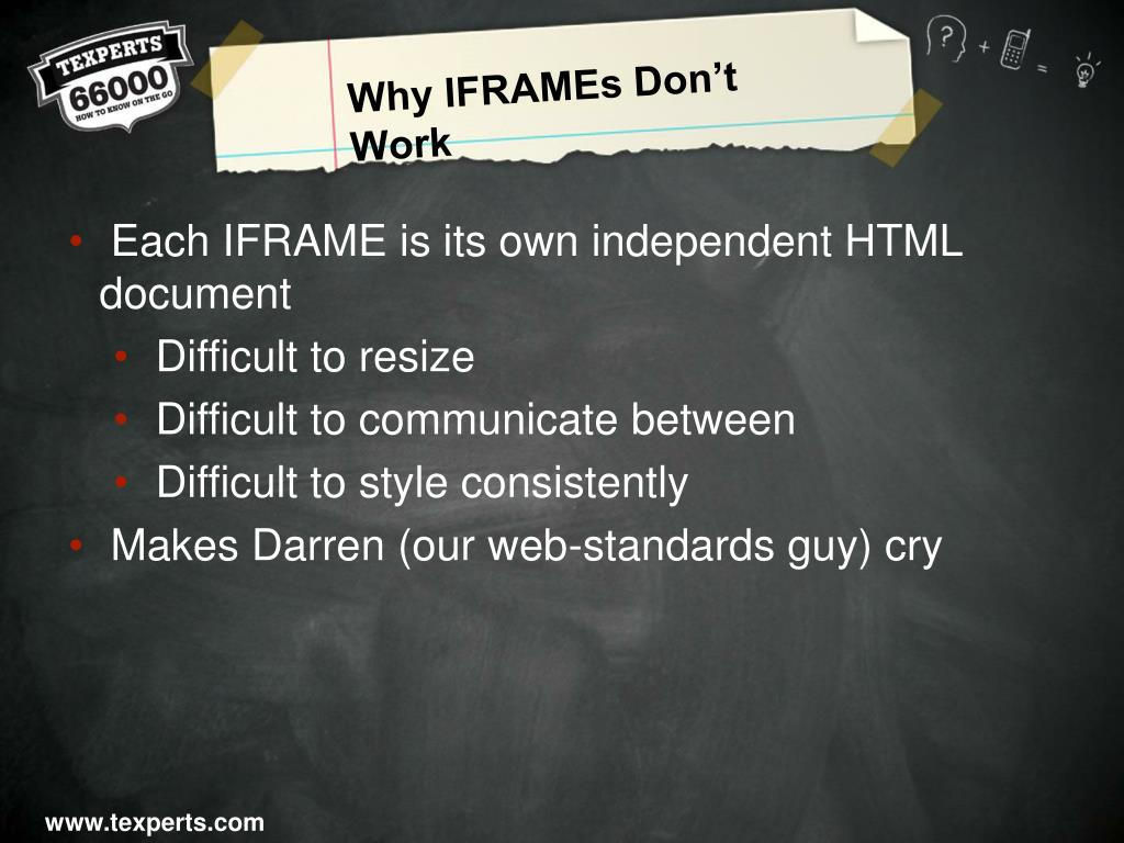 Why IFRAMEs Don't Work