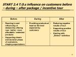 start 2 4 t o s influence on customers before during after package incentive tour