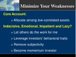 minimize your weaknesses