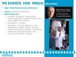 pr events for press november