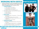 working with defile participants