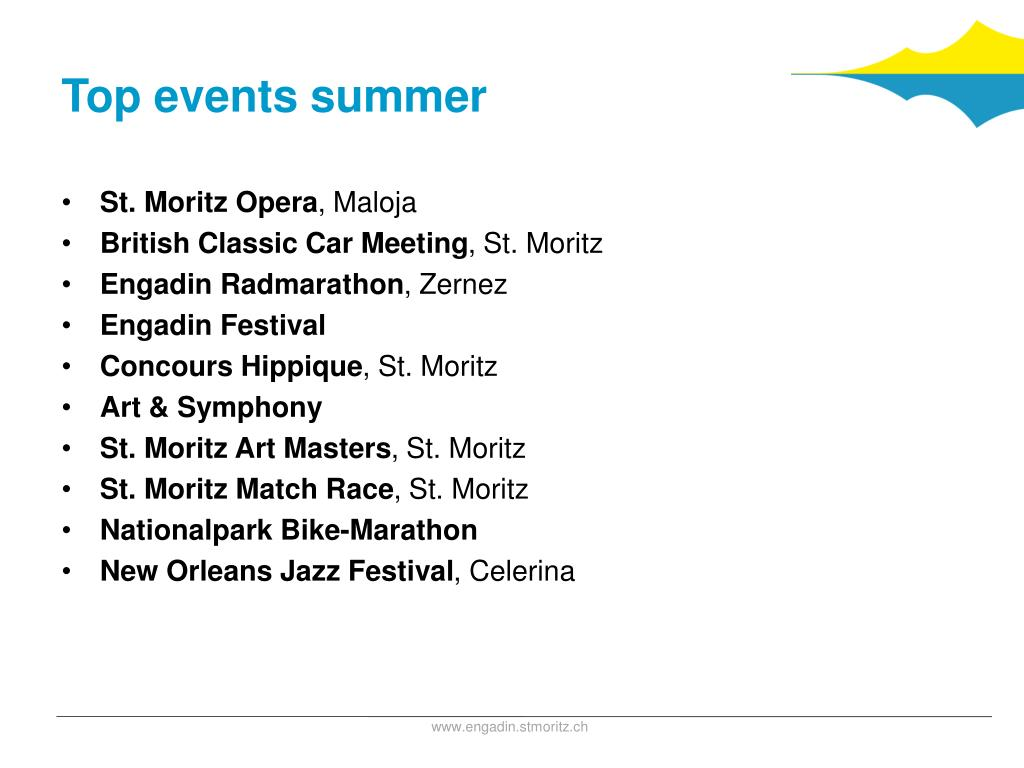 Top events summer