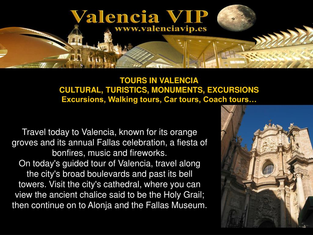 Travel today to Valencia, known for its orange groves and its annual Fallas celebration, a fiesta of bonfires, music and fireworks.
