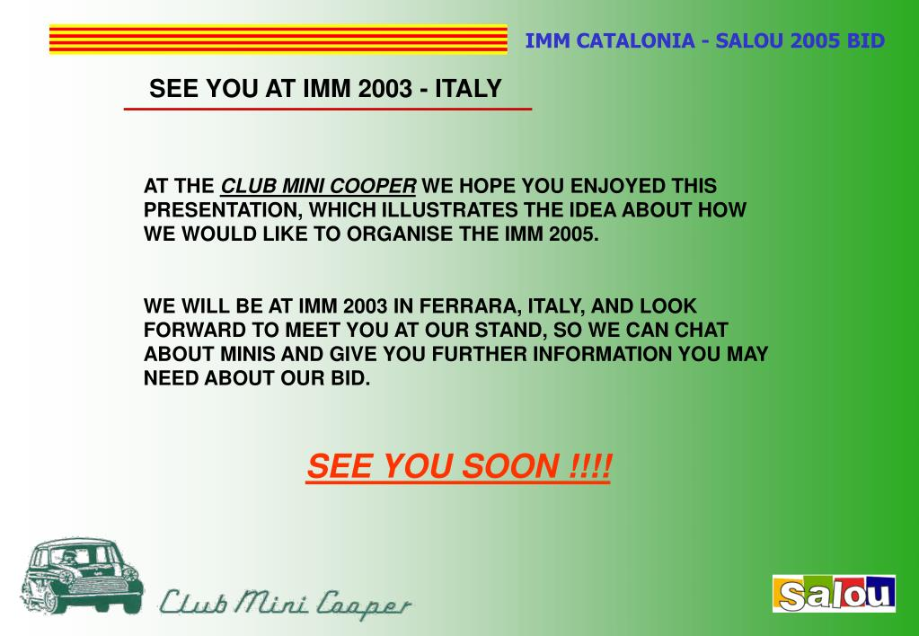 SEE YOU AT IMM 2003 - ITALY