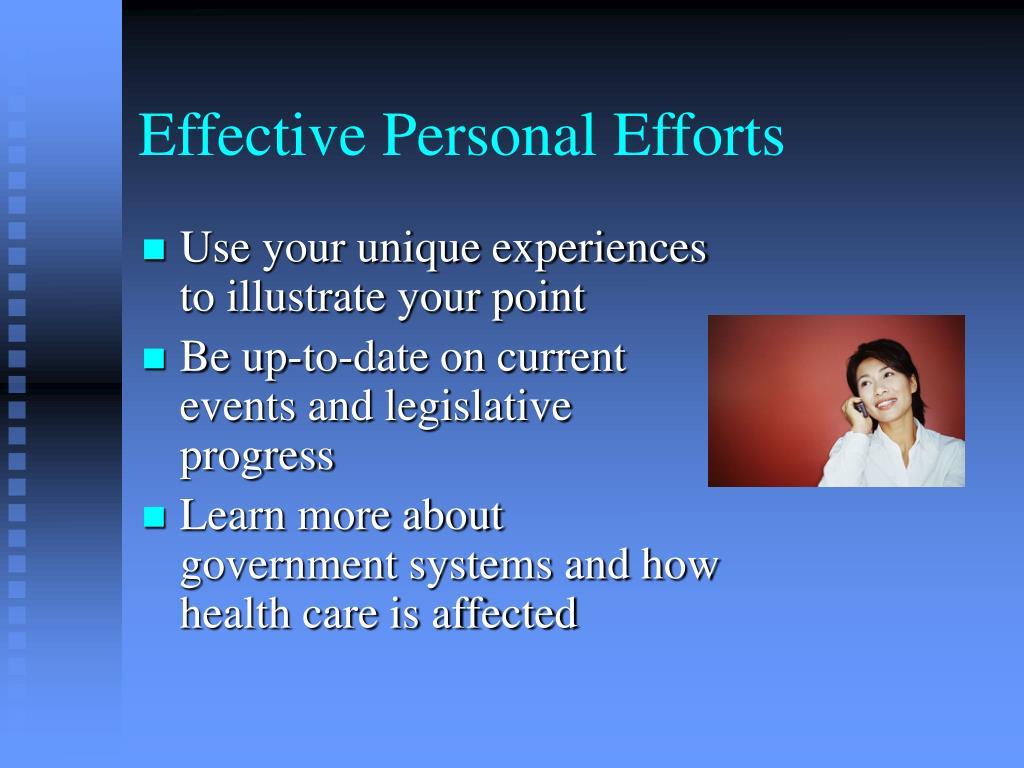 Effective Personal Efforts