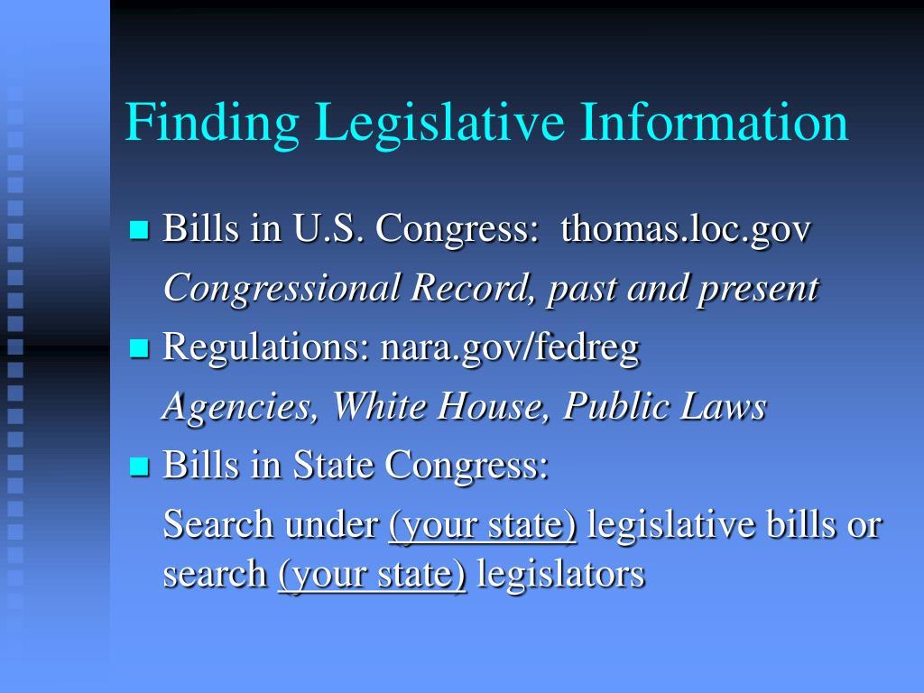 Finding Legislative Information