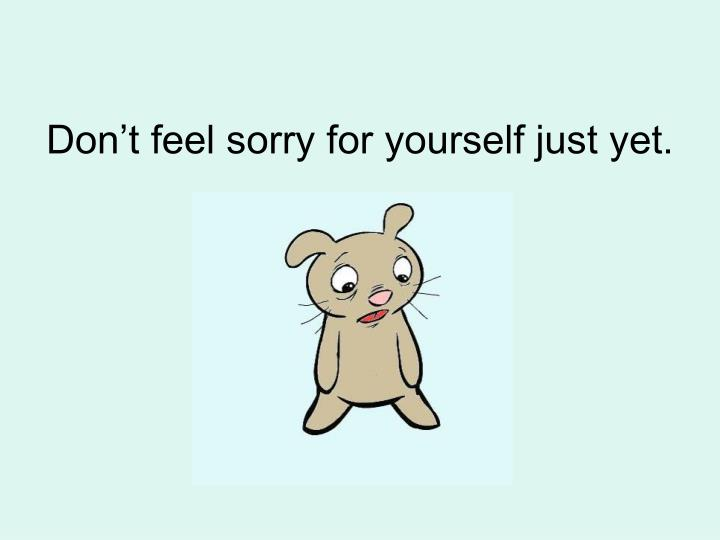 Don t feel sorry for yourself just yet