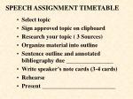 speech assignment timetable