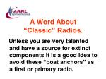 a word about classic radios84