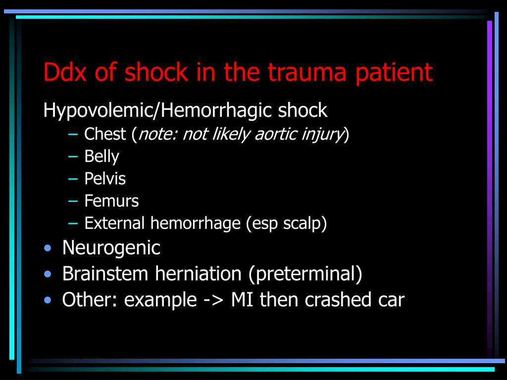 Ddx of shock in the trauma patient