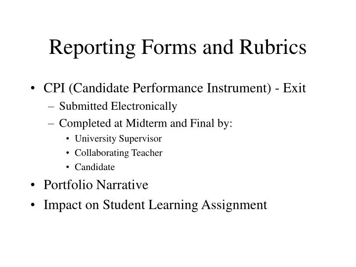 Reporting Forms and Rubrics
