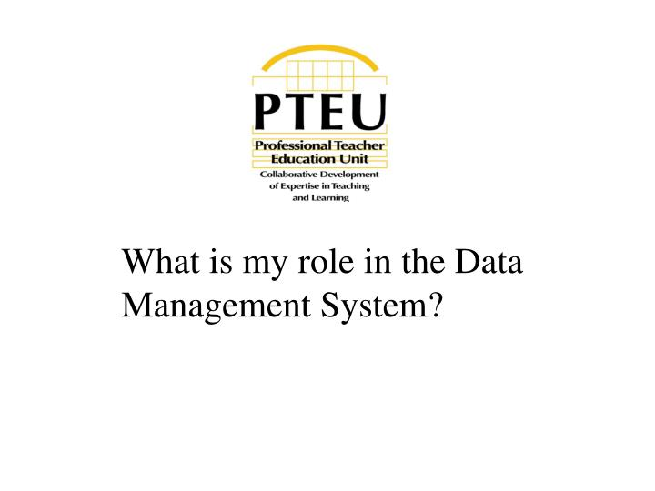 What is my role in the Data Management System?
