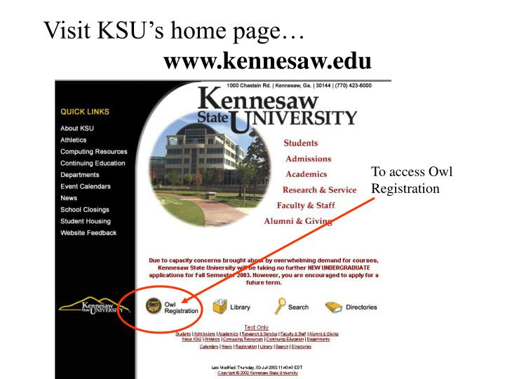 Visit KSU's home page…
