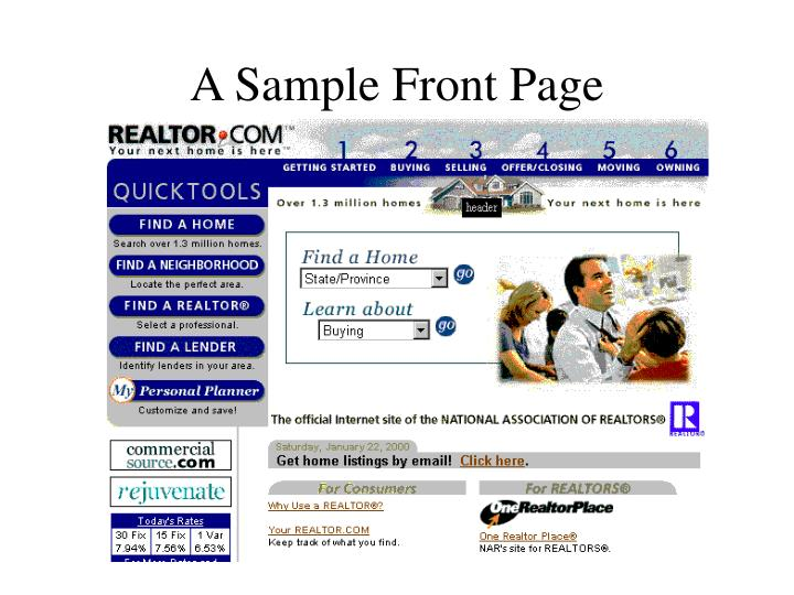 A sample front page