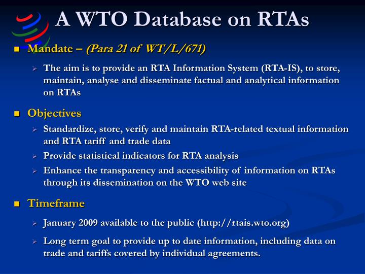 A wto database on rtas