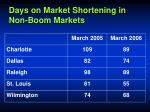 days on market shortening in non boom markets