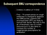 subsequent bmj correspondence