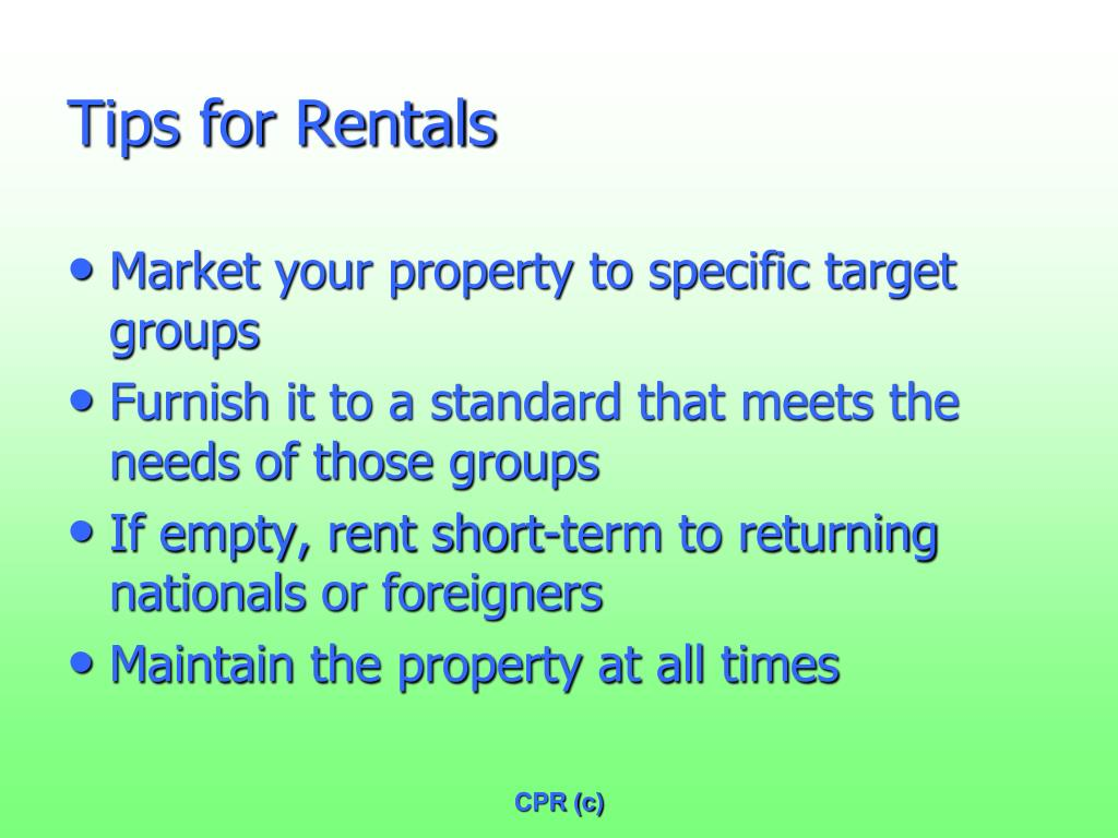 Tips for Rentals