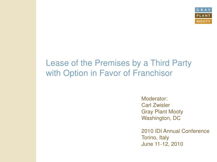 lease of the premises by a third party with option in favor of franchisor n.