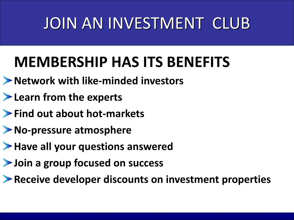 JOIN AN INVESTMENT  CLUB