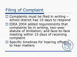 filing of complaint