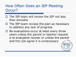 how often does an iep meeting occur