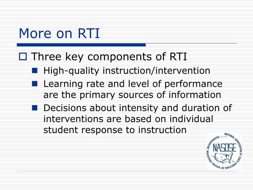 More on RTI