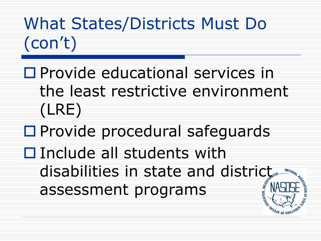 What States/Districts Must Do (con't)