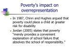poverty s impact on overrepresentation