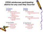 cesa reimburses participating district for any cost they incurred