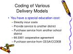 coding of various delivery models