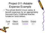 project 011 aidable expense example