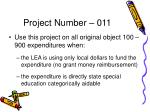 project number 011