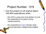 project number 019