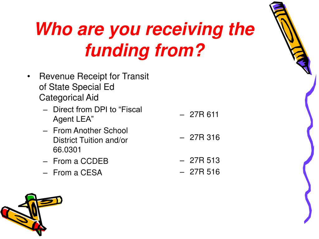 Revenue Receipt for Transit of State Special Ed Categorical Aid