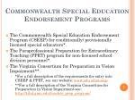 commonwealth special education endorsement programs