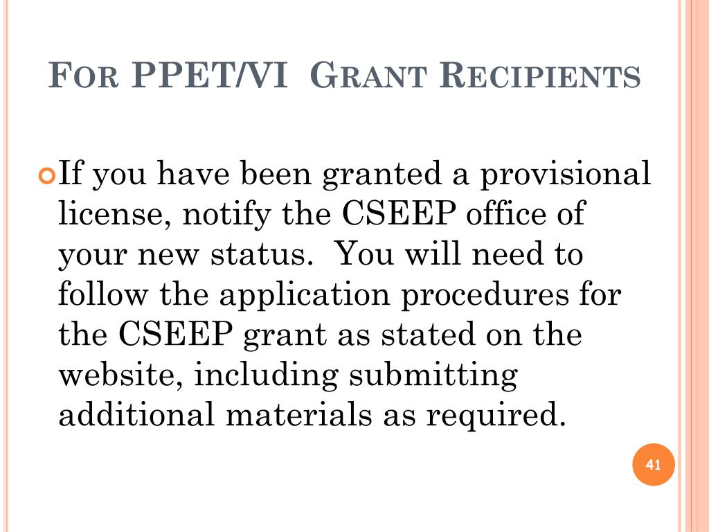 For PPET/VI  Grant Recipients