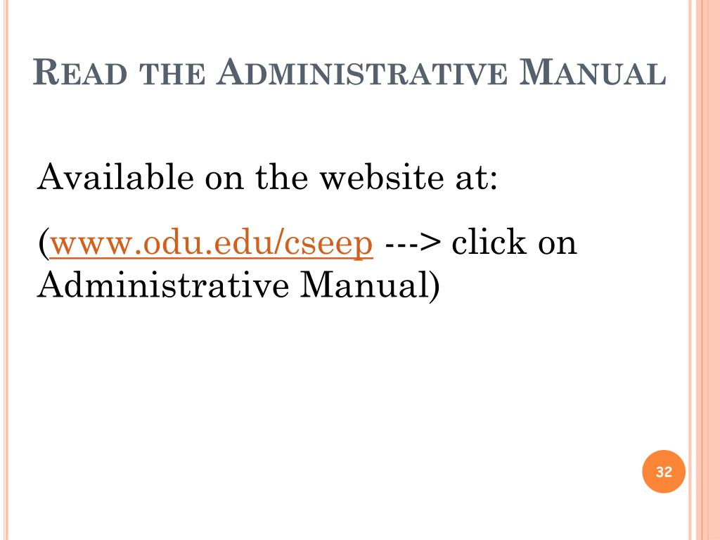 Read the Administrative Manual