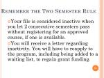 remember the two semester rule