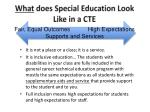 what does special education look like in a cte
