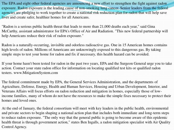 The EPA and eight other federal agencies are announcing a new effort to strengthen the fight against...