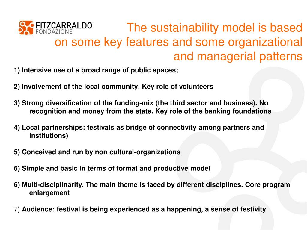 The sustainability model is based