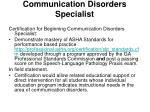 communication disorders specialist